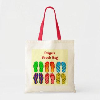 Calçados coloridos dos chinelos da praia de 6 pare sacola tote budget