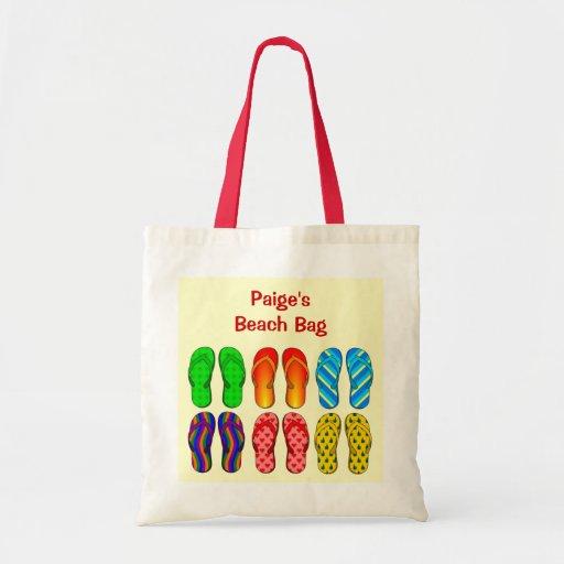 Calçados coloridos dos chinelos da praia de 6 pare bolsa de lona