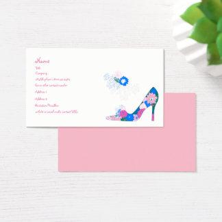 Calçados cor-de-rosa e azuis da flor cartão de visitas