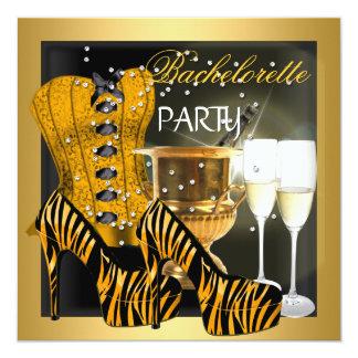 Calçados da zebra do espartilho do preto do ouro convite quadrado 13.35 x 13.35cm