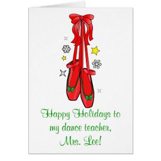 Calçados de balé do Natal do professor da dança Cartoes