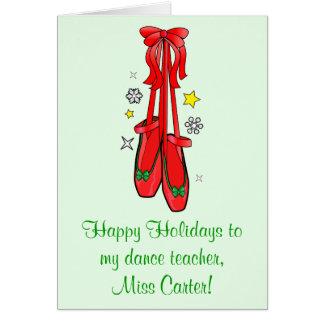 Calçados de balé do Natal do professor da dança Cartão Comemorativo