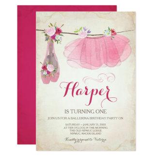 Calçados de balé do tutu do rosa do convite de
