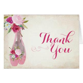 Calçados de balé dos cartões de agradecimentos do