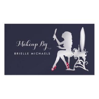Calçados de prata do vermelho do maquilhador da cartão de visita