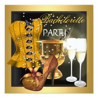 Calçados do espartilho do preto do ouro da festa convite quadrado 13.35 x 13.35cm