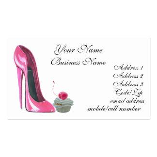 Calçados do estilete e cartão de visita cor-de-ros