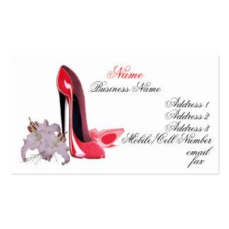 Calçados do estilete e cartão vermelhos elegantes cartão de visita