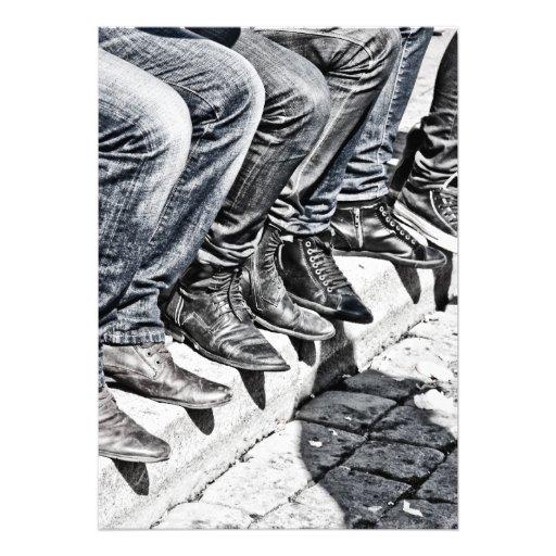Calçados do passeio convites personalizados
