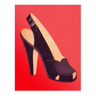 Calçados dos saltos altos das mulheres do vintage cartão postal