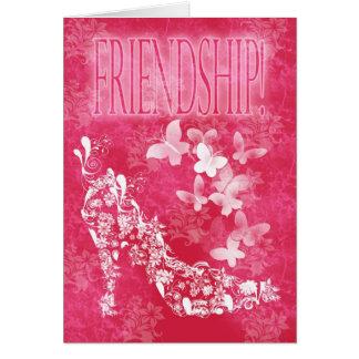 Calçados e borboletas da flor do cartão da amizade