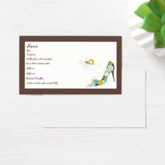 Calçados florais do salto alto cartão de visitas