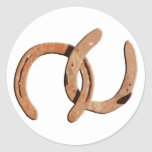 Calçados oxidados do cavalo de Brown Adesivo Em Formato Redondo