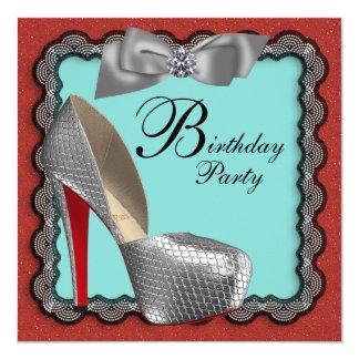 Calçados pretos & de prata Birthd do vermelho azul Convite Quadrado 13.35 X 13.35cm