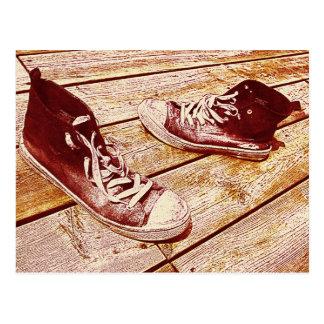 calçados velhos - retroceda fora seu cartão dos