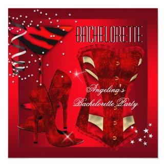 Calçados vermelhos do salto alto do espartilho de convite quadrado 13.35 x 13.35cm
