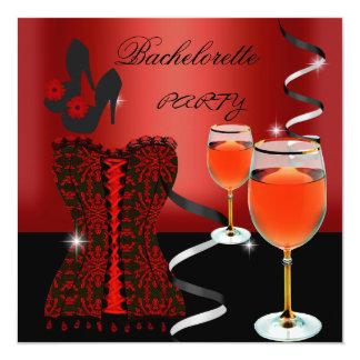 Calçados vermelhos do vinho do preto do espartilho convite quadrado 13.35 x 13.35cm