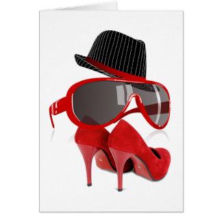 Calçados & vidros vermelhos do chapéu das senhoras cartão comemorativo