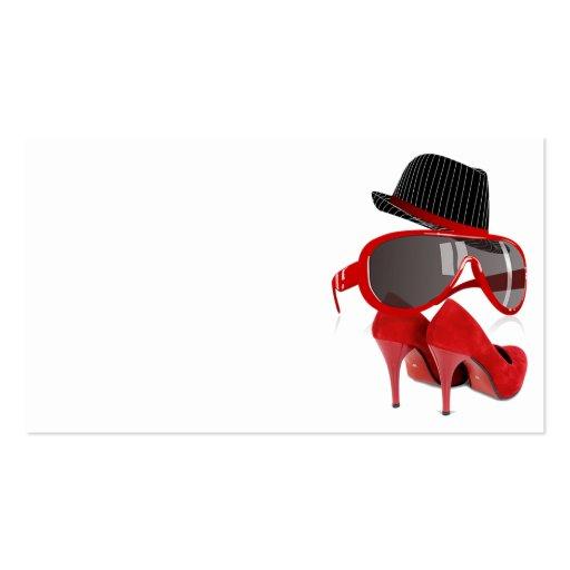 Calçados & vidros vermelhos do chapéu das senhoras cartão de visita