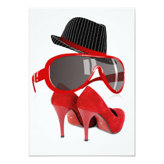Calçados & vidros vermelhos do chapéu das senhoras convite 12.7 x 17.78cm