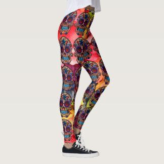 Calças coloridas da festa do leggings com caveira