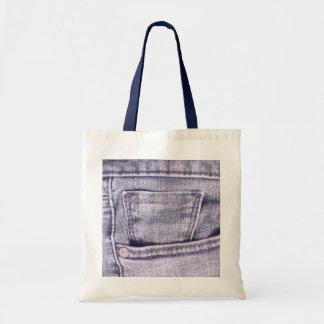 Calças de ganga bolso, tecido, emendas bolsas de lona