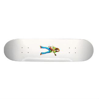 Calças gráficas do azul da imagem do guitarrista e shape de skate 20cm