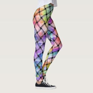 Calças justas tecidas arco-íris - leggings