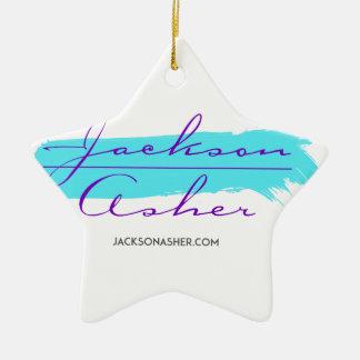 Calcinador de Jackson - furto azul da pintura Ornamento De Cerâmica Estrela