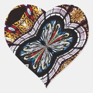 Caleidoscópio 22 da janela de vitral adesivos em forma de corações