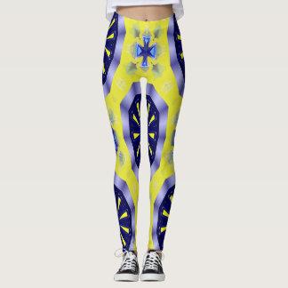 caleidoscópio azul e amarelo Legging