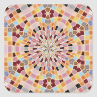 Caleidoscópio cor-de-rosa e alaranjado do mosaico adesivo em forma quadrada