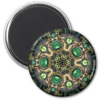 Caleidoscópio da esmeralda e do ouro ímã redondo 5.08cm