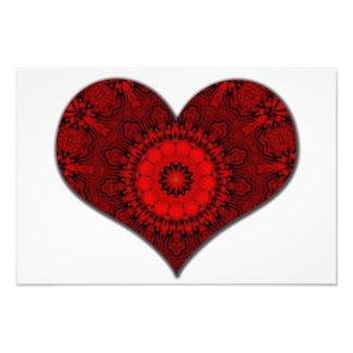 Caleidoscópio vermelho do coração impressão de fotos