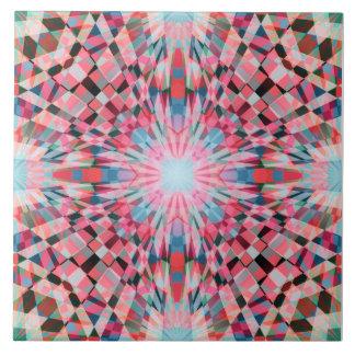 Caleidoscópio vermelho dos verificadores azulejo de cerâmica