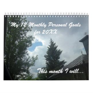 Calendário 12 objetivos pessoais por o ano novo inspirado