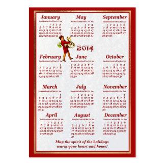 Calendário 2014 do bolso do Natal do cartão de vis Cartões De Visitas
