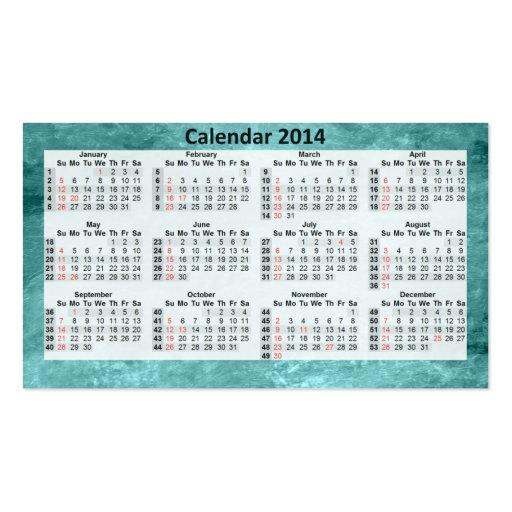 Calendário 2014 do cartão de visita