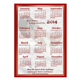 Calendário 2014 do cartão de visita da trombeta do