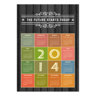 Calendário 2014 do tamanho da carteira no estilo cartões de visita
