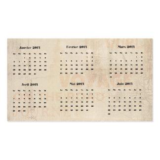 calendário 2014 do vintage cartão de visita