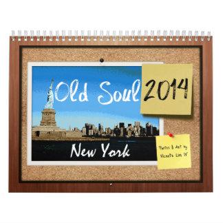 Calendário 2014 velho de New York da alma