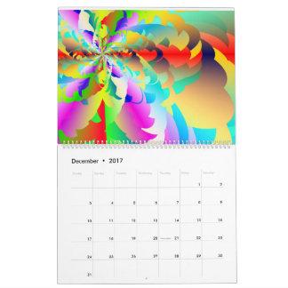 Calendário 2017 do arco-íris do Fractal