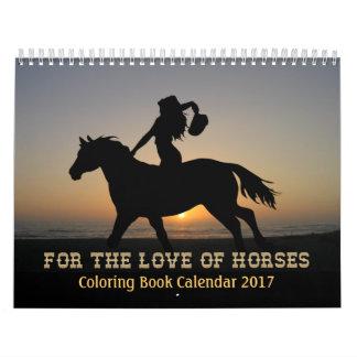 Calendário 2017 do livro para colorir dos cavalos