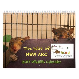 Calendário 2017 dos bebês dos animais selvagens