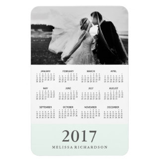 Calendário 2017 elegante Pastel da foto da listra Foto Com Ímã Retangular