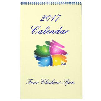 Calendário 2017 página do solteiro da rotação de Chakras do