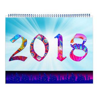 Calendário 2018 com grandes gráficos