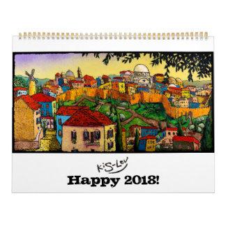 Calendário 2018 da arte de Kis-Lev de Jonathan