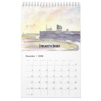 Calendário 2018 da costa de Northumberland